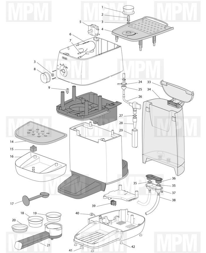 Vue eclatée cafetiere expresso ECOV310.BK delonghi MPM