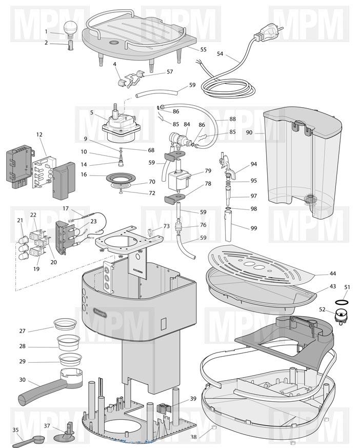 Vue eclatée robot café DINAMICA ECAM353.75.W delonghi MPM